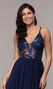 Image of long sequin-illusion-bodice prom dress by PromGirl. Style: LP-PL-27852 Detail Image 6