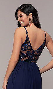 Image of long sequin-illusion-bodice prom dress by PromGirl. Style: LP-PL-27852 Detail Image 7