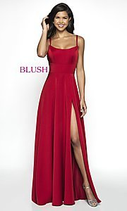Image of long blush designer prom dress with open back. Style: BL-C2095 Detail Image 2