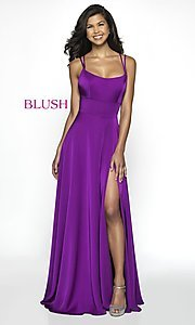 Image of long blush designer prom dress with open back. Style: BL-C2095 Detail Image 3