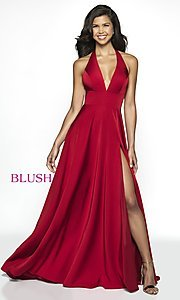 Image of long designer v-neck halter prom dress by Blush. Style: BL-C2100 Detail Image 3
