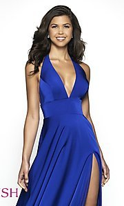 Image of long designer v-neck halter prom dress by Blush. Style: BL-C2100 Detail Image 1