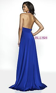 Image of long designer v-neck halter prom dress by Blush. Style: BL-C2100 Back Image