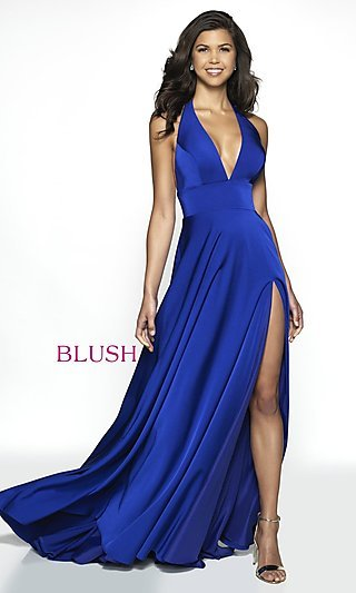 Long Designer V-Neck Halter Prom Dress by Blush