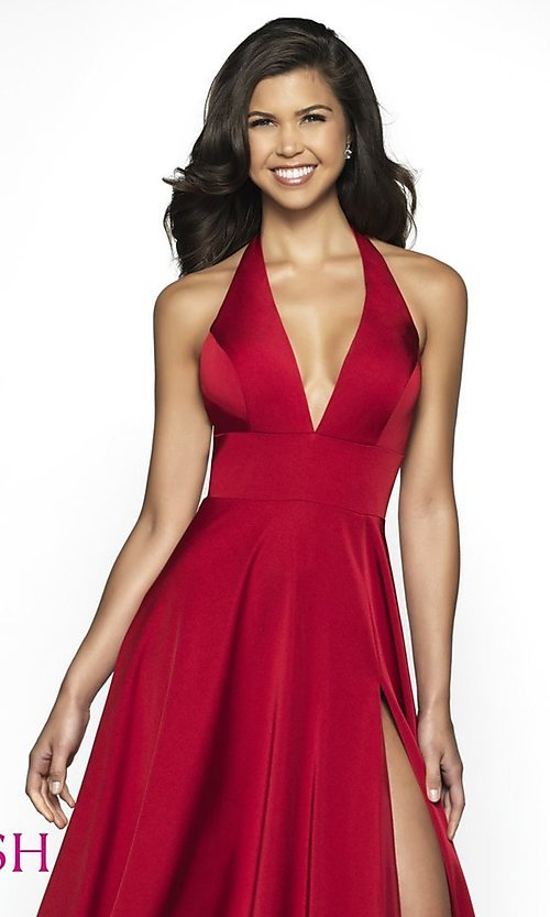 Image of long designer v-neck halter prom dress by Blush. Style: BL-C2100 Detail Image 4