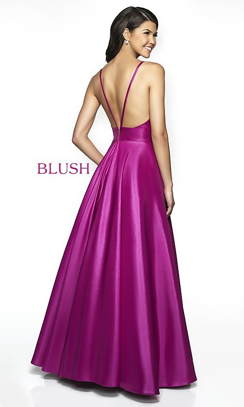 Image of pocketed long shimmer prom dress by Blush. Style: BL-C2009 Back Image