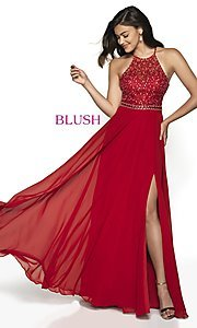 Image of long open-back beaded designer prom dress by Blush. Style: BL-11720 Detail Image 4