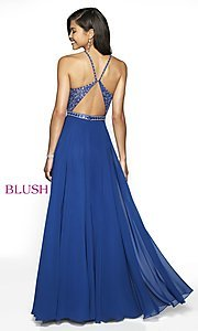 Image of long open-back beaded designer prom dress by Blush. Style: BL-11720 Detail Image 5