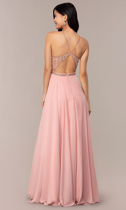 Image of long open-back beaded designer prom dress by Blush. Style: BL-11720 Back Image