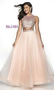 Image of two-piece designer prom ball gown by Blush. Style: BL-11746 Front Image