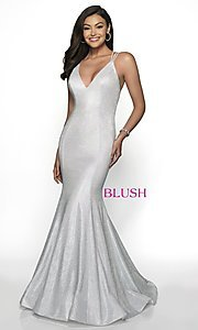 Image of open-back shimmer long trumpet prom dress by Blush. Style: BL-11761 Detail Image 5