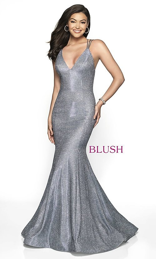 Image of open-back shimmer long trumpet prom dress by Blush. Style: BL-11761 Detail Image 1