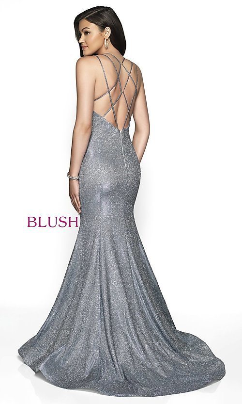 Image of open-back shimmer long trumpet prom dress by Blush. Style: BL-11761 Back Image