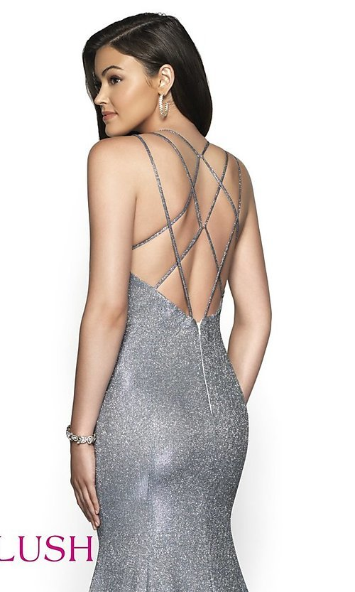 Image of open-back shimmer long trumpet prom dress by Blush. Style: BL-11761 Detail Image 2