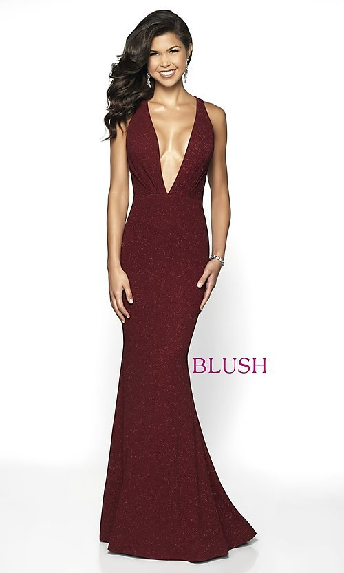 Image of plunging-v-neck designer prom dress by Blush. Style: BL-11766 Detail Image 3