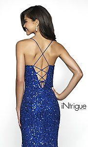 Image of royal blue iNtrigue by Blush long sequin prom dress. Style: BL-IN-507 Detail Image 2