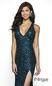 Image of teal sequin long sparkly prom dress with open back. Style: BL-IN-513 Detail Image 1