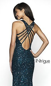 Image of teal sequin long sparkly prom dress with open back. Style: BL-IN-513 Detail Image 2