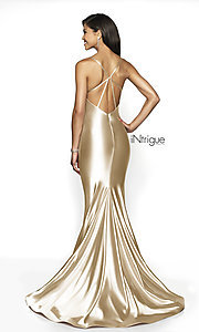 Image of long satin-jersey scoop-neck sleeveless prom dress.  Style: BL-IN-526 Back Image