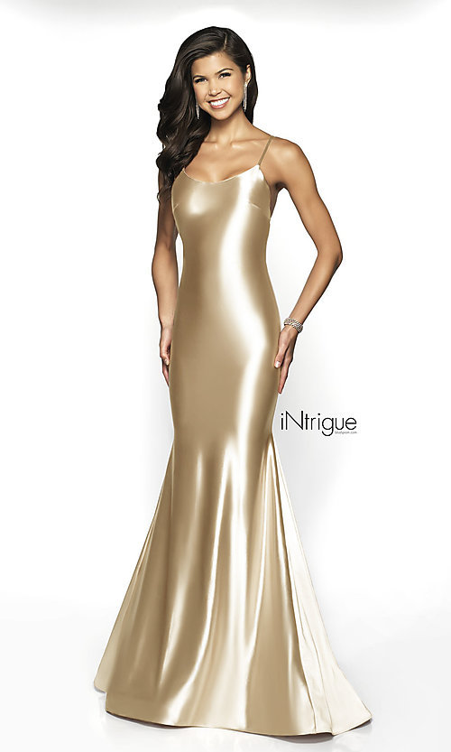Image of long satin-jersey scoop-neck sleeveless prom dress.  Style: BL-IN-526 Front Image