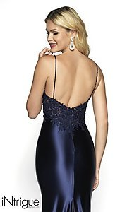 Image of long embroidered-bodice prom dress with train. Style: BL-IN-529 Detail Image 2