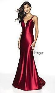 Image of long v-neck satin prom dress with lace-up back. Style: BL-IN-540 Front Image