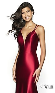 Image of long v-neck satin prom dress with lace-up back. Style: BL-IN-540 Detail Image 1