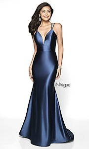 Image of long v-neck satin prom dress with lace-up back. Style: BL-IN-540 Detail Image 3