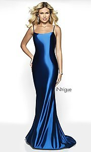 Image of long v-back sleeveless scoop-neck prom dress. Style: BL-IN-545 Detail Image 5