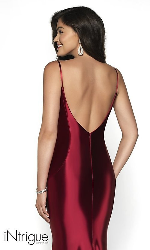 Image of long v-back sleeveless scoop-neck prom dress. Style: BL-IN-545 Detail Image 2