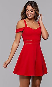 Image of cold-shoulder short jersey party dress by PromGirl. Style: MCR-PL-2658 Detail Image 6