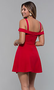Image of cold-shoulder short jersey party dress by PromGirl. Style: MCR-PL-2658 Detail Image 7