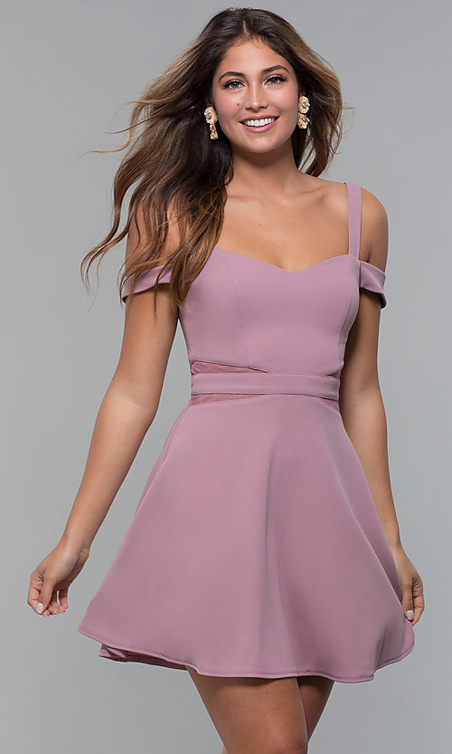 Image of cold-shoulder short jersey party dress by PromGirl. Style: MCR-PL-2658 Detail Image 3