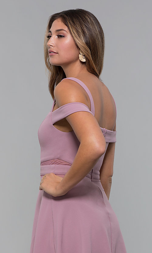 Image of cold-shoulder short jersey party dress by PromGirl. Style: MCR-PL-2658 Detail Image 5