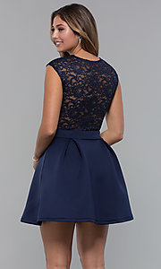 Image of sequin-lace-bodice short party dress by PromGirl. Style: MCR-PL-2651 Back Image