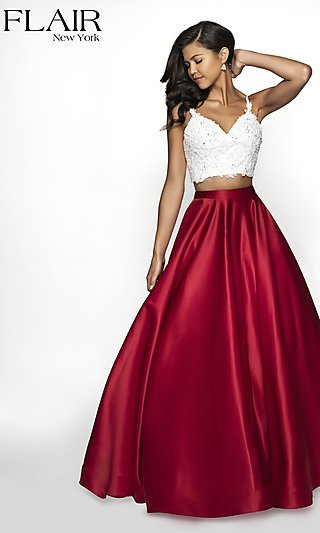 Long Two-Tone FLAIR Prom Dress with Pockets