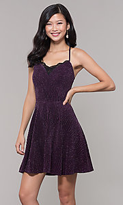 Image of glitter plum short wedding-guest dress. Style: SS-D69105J647 Front Image