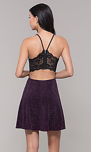 Image of glitter plum short wedding-guest dress. Style: SS-D69105J647 Back Image