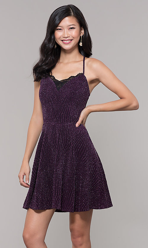 50f3f651e03 Image of glitter plum short wedding-guest dress. Style  SS-D69105J647 Front