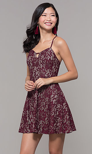 Short Glitter-Lace Wedding-Guest Party Dress