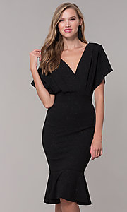 Image of kimono-sleeve holiday party dress with flounce hem. Style: SY-ID6061AP Detail Image 4