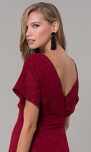 Image of kimono-sleeve holiday party dress with flounce hem. Style: SY-ID6061AP Detail Image 2