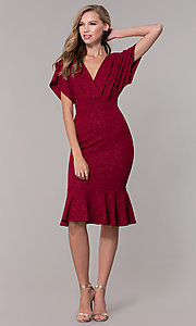 Image of kimono-sleeve holiday party dress with flounce hem. Style: SY-ID6061AP Detail Image 3