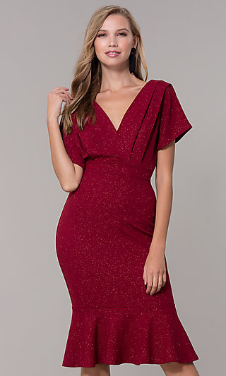 Kimono-Sleeve Holiday Party Dress with Flounce Hem