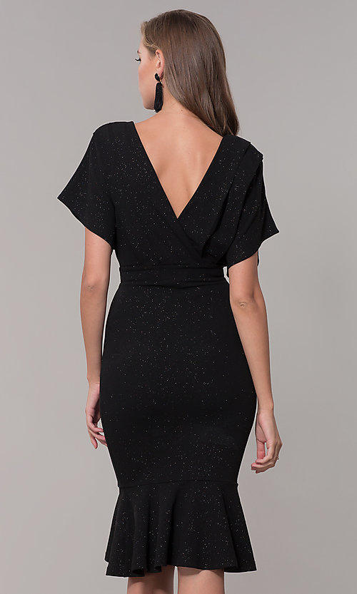 Image of kimono-sleeve holiday party dress with flounce hem. Style: SY-ID6061AP Detail Image 5