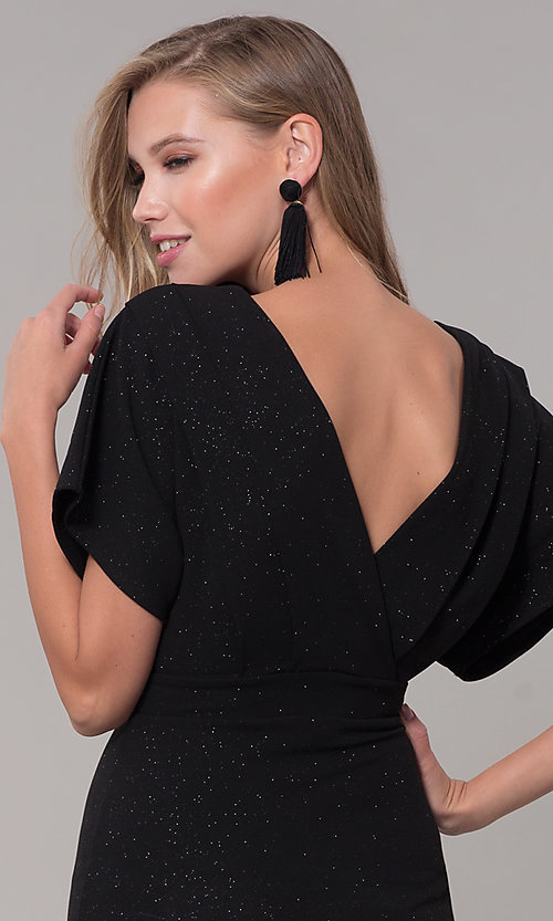 Image of kimono-sleeve holiday party dress with flounce hem. Style: SY-ID6061AP Detail Image 7