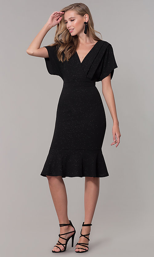 Image of kimono-sleeve holiday party dress with flounce hem. Style: SY-ID6061AP Detail Image 8