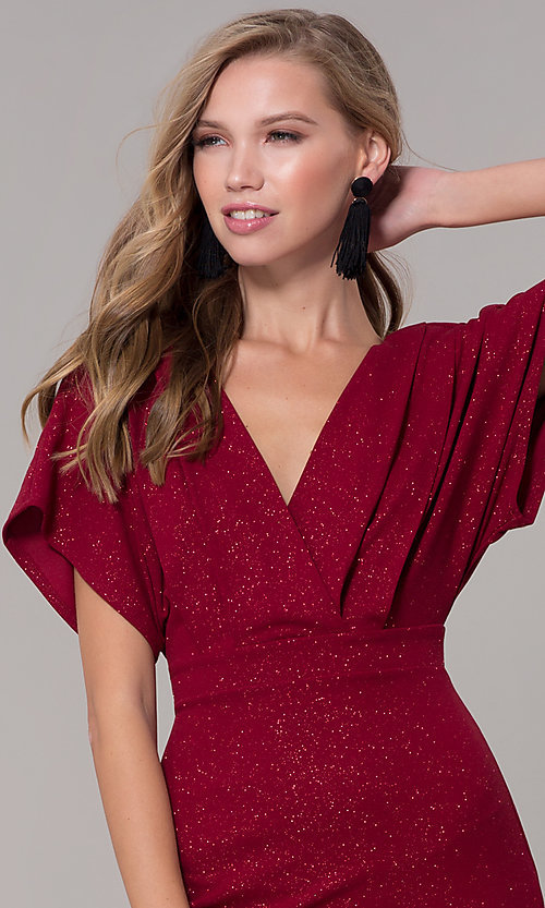 Image of kimono-sleeve holiday party dress with flounce hem. Style: SY-ID6061AP Detail Image 1