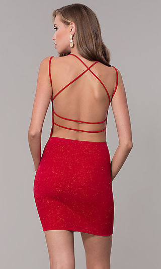 Short Glitter Open-Back Holiday Party Dress