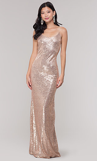 Long Sequin Scoop-Neck Prom Dress